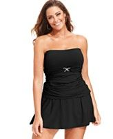 MICHAEL Michael Kors Plus Size Bandeau Tankini Top & Swim Skirt