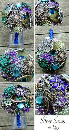 Peacock Brooch Wedding Bouquet with real feathers