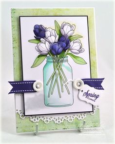Such a cheerful, lovely springtime card. #cards #stamping #scrapbooking