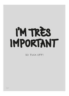 I'm très important. So fuck off! | My deer art shop