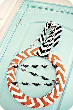 Halloween Chevron Wreath Tutorial!! -- Tatertots and Jello #DIY #Halloween