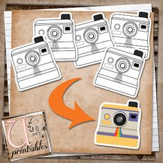 FREE Printable - Black and White Polaroid Cameras