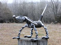 Dog Metal Sculpture Plier Dog Yard Art by rustaboutcreations, $99.00
