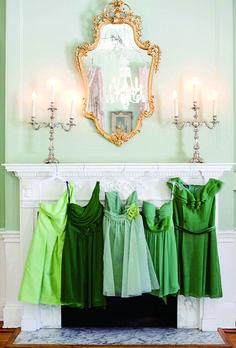 ombre, bridesmaids, bridesmaid dresses, weddings, colors, shorts, the bride, green dress, shades of green