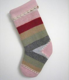 Multi-Colored Striped Christmas Stocking Handmade from Felted Wool Sweaters by mmwolters
