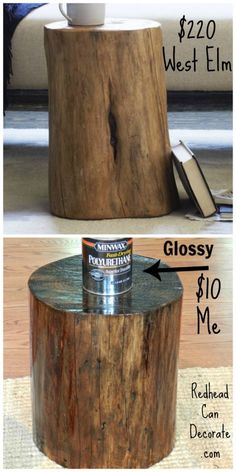West Elm KnockOff - Dead Tree Stump Becomes An End Table by redheadcandecorate.com