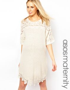 Perfect baby shower dress: white maternity dress with lace detail from @ASOS.com.com.com. #maternity #style http://rstyle.me/n/e5n5x5ns6