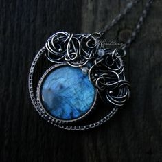 Pendant with labradorite moonstone silver  wire by GaleriaM, zł590.00