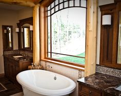 Stunning Camp Interior For Your Summer Holiday: Beautiful Classic Bathroom With Bath Tub Near Window Adirondack Camp ~ wbtourism.com Home In...