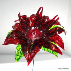 Upcycled  Brown Spiky Fun Flower Made of Water Bottles