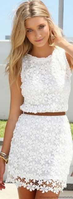 Simple White Lace Summer Fashion Outfit
