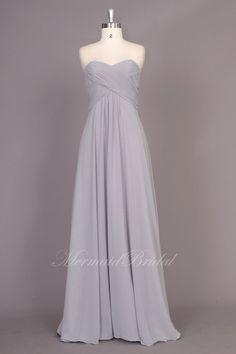 Simple silver Chiffon Long prom dress evening by MermaidBridal, $129.99