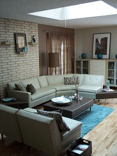 Mid-Century Modern Living Room with original sofa from 1959 and IKEA cabinet.