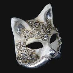 "Silver Cat Masquerade/Carnival Mask. I would love to have this. ""The cat, as prince of the fables. It is always a seductive style with delicated shines to create a beautifull layer."""