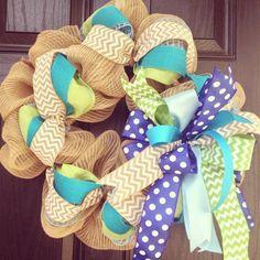 Burlap wreath // Blue // Lime green // White // Turquoise // Spring Burlap Wreath // Summer Wreath // Chevrons // Polka dot // Ocean wreath on Etsy, $75.00 ocean wreath, burlap wreaths summer