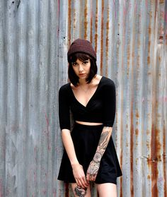 bob, dark hair, arm tattoos, girl crushes, outfit, sleeve tattoos, tattoo patterns, ink, hat