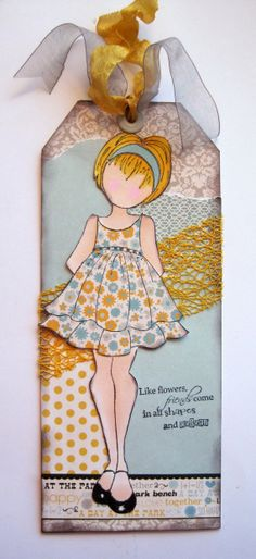 Tag, Book Marker, Julie Nutting Doll, Friendship Tag, Friendship Bookmarker, Prima Doll Stamp