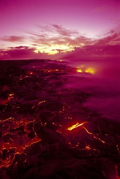 Pink Volcano Sunrise - Hawaii