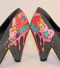 Hand painted cupcake shoes