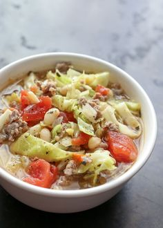 Italian White Bean, Cabbage, and Sausage Soup (ready to eat in less than 30 minutes!) recipe by Barefeet In The Kitchen