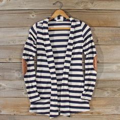 Patches & Stripes Cardigan in Navy: Featured Product Image