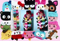 Sanrio 50th Anniversary scarf by Twinkie Chan (crochet)...too cute!