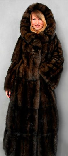 long hooded sable fur coat