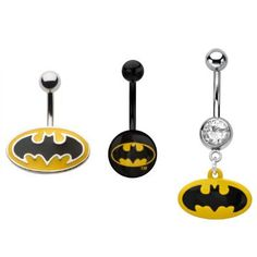 Surgical Steel Batman Logo Belly Button Rings Length by SoNoVo