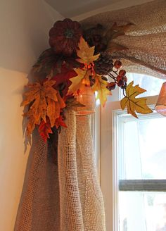 From Bachman's Ideas House - cute idea to accent curtains for the fall