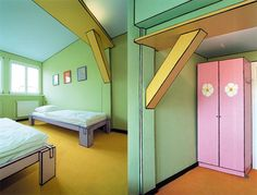 comic book art illustration style in a kid's room design