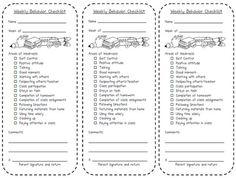 weekly behav checklist