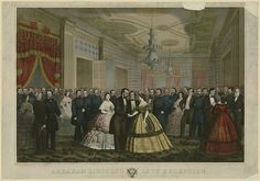 Abraham Lincoln's Last Reception ::: Abraham Lincoln & Mary Todd Lincoln greeting Union generals, Cabinet members, & others at a reception.    Library of Congress Prints and Photographs Division Washington, D.C. 20540 USA