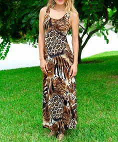 Another great find on #zulily! Brown Jungle Tank Maxi Dress by Modern Touch #zulilyfinds