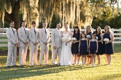 Country wedding bride + groom and wedding party
