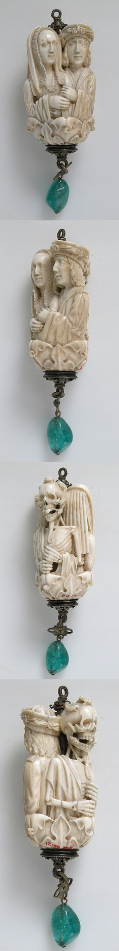 Rosary Terminal Bead with Lovers and Death's Head, Northern France or Southern Netherlands, ca. 1500–1525, Ivory, with emerald pendant, silver-gilt mount