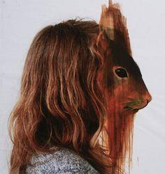 animal heads, charlott caron, collag, mixed media, mask