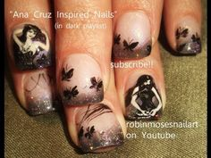 Cool Goth Girls & Black Butterflies Nail Art - Ana Cruz Inspired