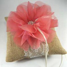 Rustic Wedding Ring Pillow Bearer Pillow in Burlap by HARTfeltart, $32.00