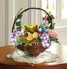 Springtime Bluebird Flower Basket