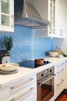 Blue tile backsplash www.blackburninvestors.com #beachcondo #floridawaterfront #redington #madeira #indianrocksbeach #indianshores #treasureisland #stpetebeach