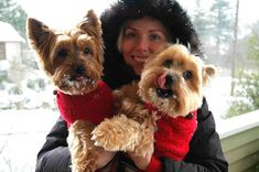 Snow Day in Seattle in bright red turtlenecks.