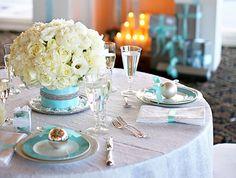 Elegant Tiffany Blue Table - Winter Wedding Idea