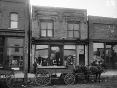 View from street of man seated on a Horse-drawn Wagon on Silver Street, which is parked in front of (from left to right) Joseph Rainieri Meat Market, Egan and Reardon Grocery, and Whitman's Drug Store - Hurley, WI (1908)