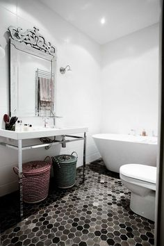 The mirror and floor tiles.