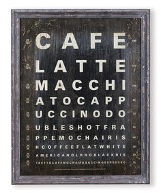 """Fun Coffee Wall Art –– Have this in your kitchen and everyone who wears """"strong"""" glasses will hate you."""