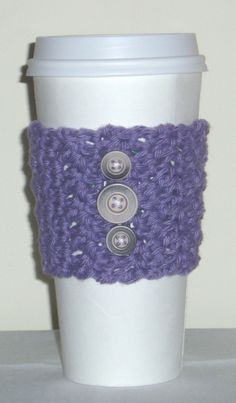 Purple coffee cozy at TheCozyStore.etsy.com