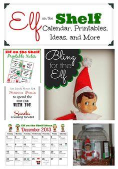 Elf on the Shelf calendar, printables, ideas, and more. #elfontheshelf