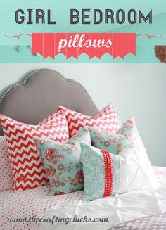 Girl Bedroom with Riley Blake Designs fabrics #rileyblakedesigns #thecraftingchicks #chevron #dot #vintageverona #emilytaylor