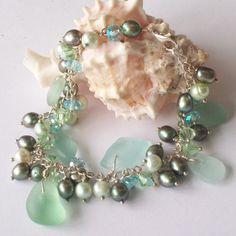 Seafoam Green Sea Glass Bracelet with Fresh Water Pearls and Crystals seafoam green, green sea, bead, glass bracelet, pearl bracelets, water pearl, fresh water, sea glass, seaglass