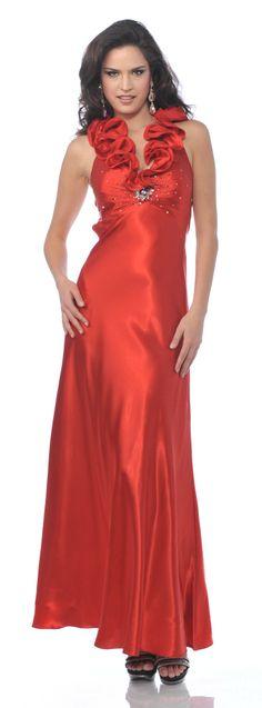 Ruffled Straps V Neck Red Satin Full Length Formal Dress Rhinestones $147.99